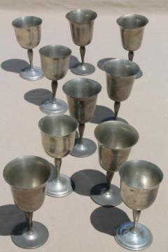 mixed lot antique & vintage pewter goblets, medieval style banquet table wine glasses