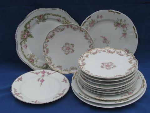 Mixed Lot Old Rose Floral Antique China Plates Limoges