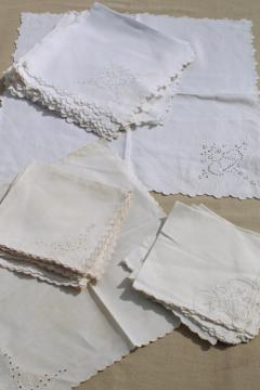 mixed lot vintage embroidered whitework luncheon / tea table napkins, madeira, broderie anglaise
