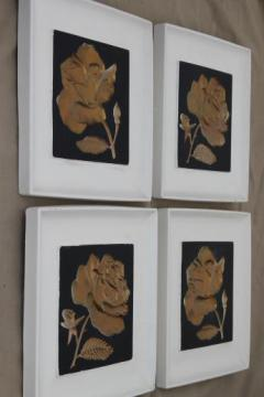 mod 1950s black & white wall plaques w/ gold roses, chalkware wall art set