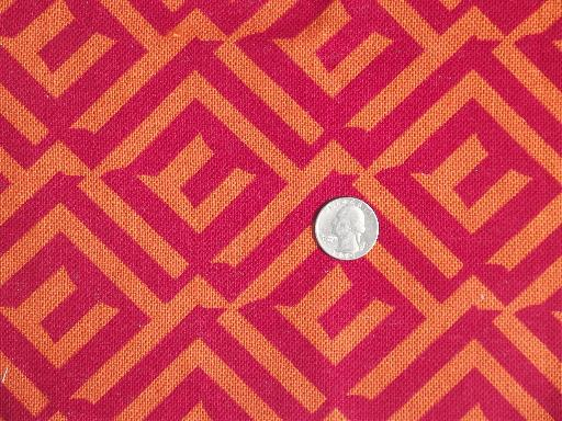60s vintage fabric sample cuts, retro geometric art print graphics