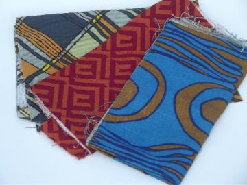 mod 60s vintage fabric sample cuts, retro geometric art print graphics