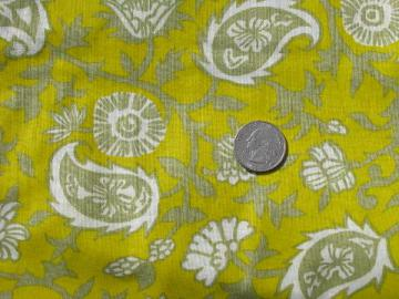 mod 60s vintage fabric, tan & ivory paisley print on yellow-gold