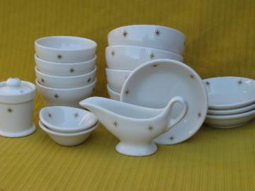 mod atomic starburst restaurantware ironstone china, bowls in 3 sizes