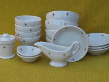 mod atomic starburst restaurantware ironstone china, bowls in 3 sizes