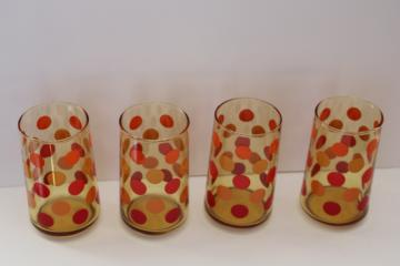 mod dots vintage amber glass drinking glasses set, polka dotted tumblers