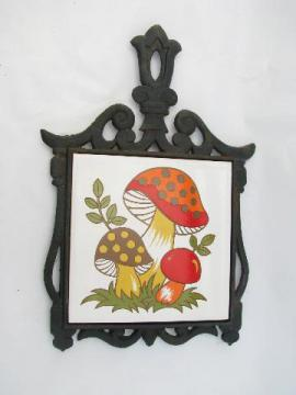 mod mushrooms retro 70s vintage tile / cast iron kitchen trivet