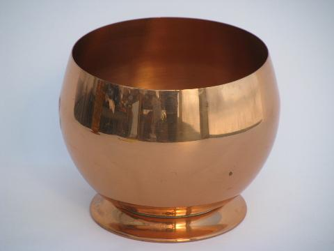mod round vintage solid copper bowl, large ball vase