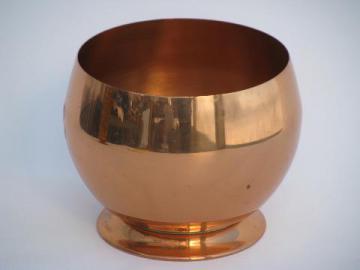 mod round vintage solid copper bowl, large ball vase