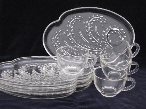 Mod Shape Retro Pressed Pattern Glass Snack Sets Vintage