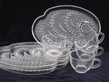 mod shape retro pressed pattern glass snack sets, vintage Federal