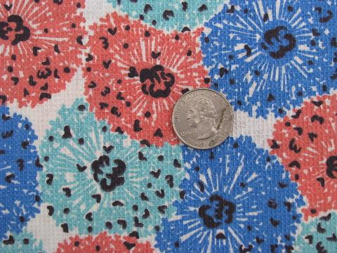 mod starburst flowers, 1950's vintage retro cotton print pique fabric