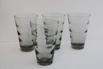 mod vintage Libbey grey smoke highball glasses, Saturn optic ripple pattern tumblers