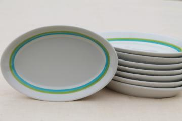 mod vintage Shenango Form white ironstone china oval plates, retro blue & green bands