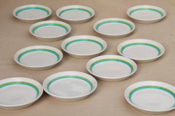 mod vintage Shenango Form white ironstone china plates, retro color bands sky blue & grass green