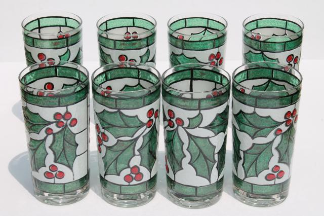 mod vintage west virginia glass tumblers set in carrier rack christmas holly drinking glasses - Christmas Drinking Glasses