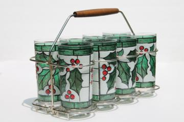 mod vintage West Virginia glass tumblers set in carrier rack, Christmas holly drinking glasses