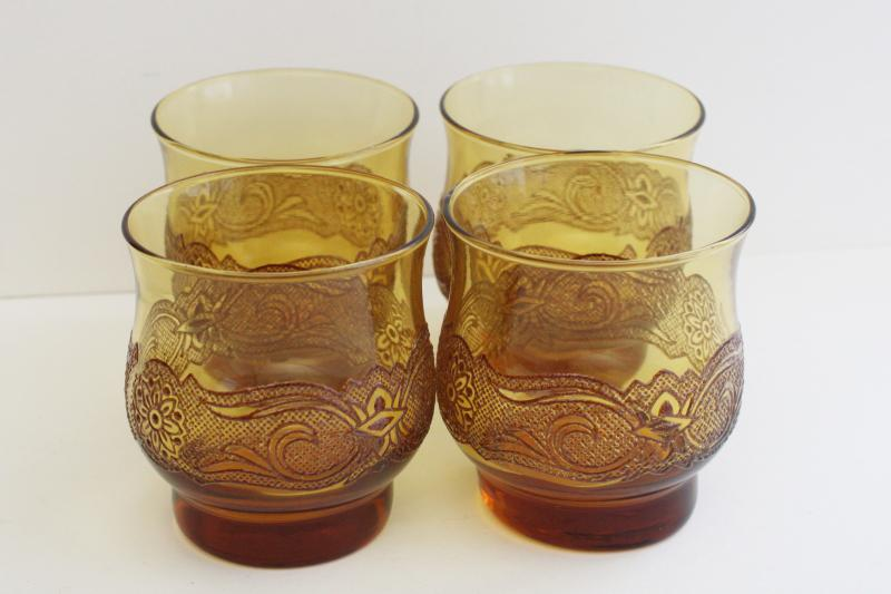 mod vintage amber glass bar glasses, lowballs w/ brown lace pattern Libbey Americana
