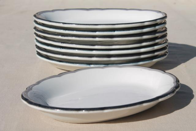 mod vintage black grey white china oval dinner plates / surf \u0026 turf platters & vintage black grey white china oval dinner plates / surf \u0026 turf ...