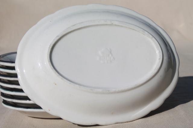 mod vintage black grey white china oval dinner plates / surf u0026 turf platters & mod vintage black grey white china oval dinner plates / surf ...