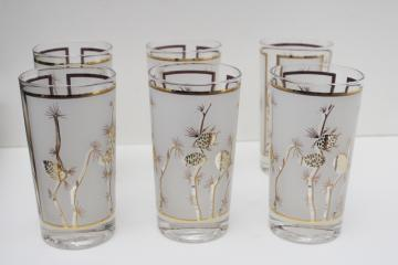 mod vintage drinking glasses, gold pinecones frosted glass tumblers set of six