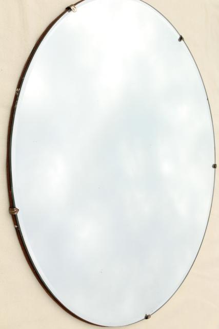 Mod Vintage Frameless Mirror Circle Art Deco Or Mid Century Modern Big Round Dot