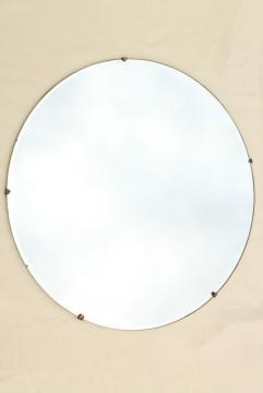 mod vintage frameless mirror circle, art deco or mid-century modern big round dot!