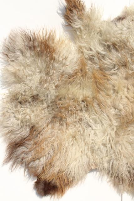 Mod Vintage Fur Hide Rug Or Chair Cover, Wool Shag Pile Leather Sheepskin,  Hippie Style
