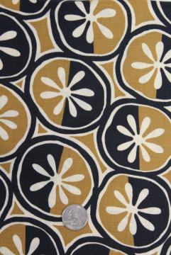 mod vintage graphic daisies print cotton fabric, black tan white minimalist pop art