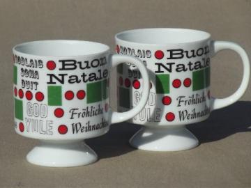 mod vintage holiday coffee cups, Christmas greetings around the world
