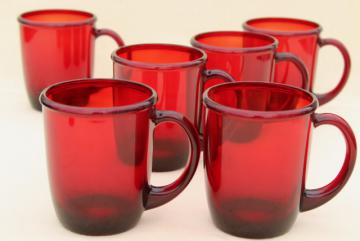mod vintage ruby red glass coffee mugs, Arcoroc Cocoon pattern w/ Crate & Barrel label