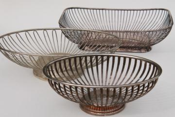 mod vintage silver wire basket collection, silverplate baskets for serving bowls etc.
