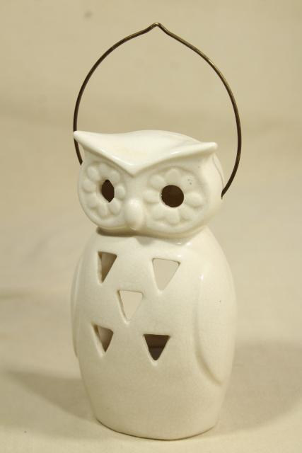 mod vintage white ceramic lantern, owl fairy light candle holder lamp