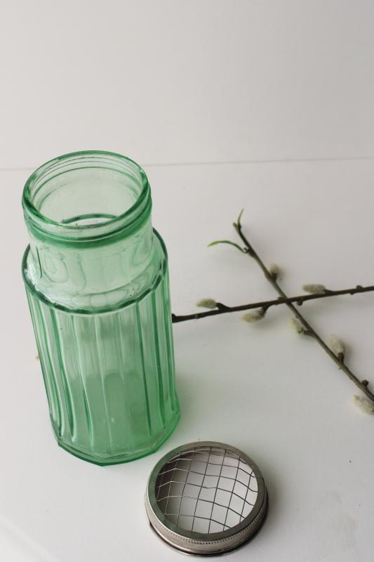 modern farmhouse style flower holder, vintage style green glass tall ribbed jar