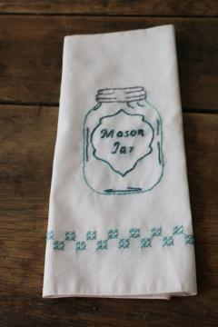 modern farmhouse style hand embroidered Mason jar towel, vintage kitchen