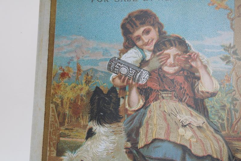 modern vintage tin sign, reproduction antique Victorian trade card advertising graphics