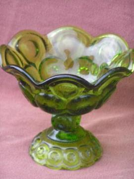 moon and stars, green ruffled glass candy dish