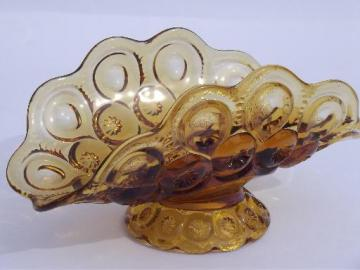 moon and stars pattern glass banana stand bowl, vintage amber glass dish