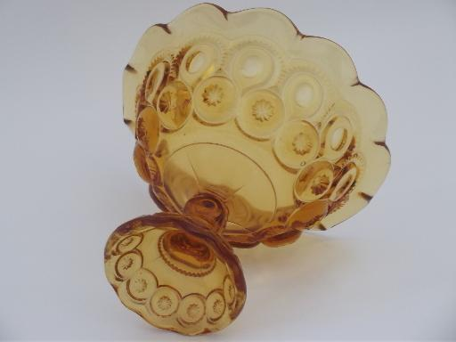 moon and stars pattern glass fruit compote bowl, vintage amber glass dish