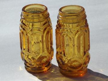 moon and stars vintage amber glass salt & pepper shaker jars set