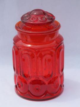 moon & stars amberina red-orange glass canister, good jar, bad lid