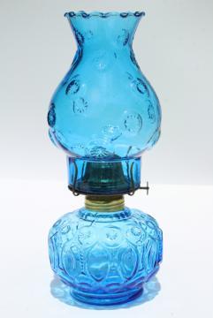 moon & stars pattern blue glass font & hurricane chimney shade, vintage kerosene oil lamp