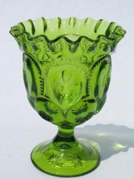 moon & stars pattern glass ruffled edge goblet vase, vintage green