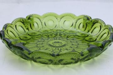 moon & stars pattern green glass, huge round glass ashtray 60s 70s vintage