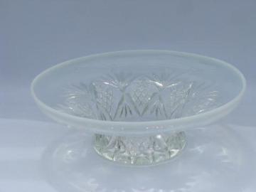 moonstone opalescent glass, vintage pineapple & fan pattern centerpiece bowl