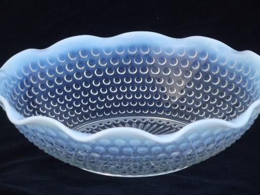 moonstone opalescent hobnail glass bowl, vintage Anchor Hocking or Fenton?