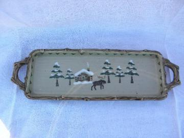 moose Lodge / Sonoma log cabin pottery rectangular tray, twig handles