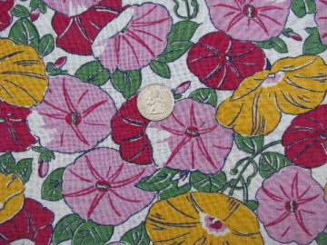 morning glories floral print, vintage cotton feedsack fabric