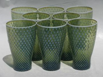 moss green Fostoria needlepoint vintage glass tumblers, set of 8
