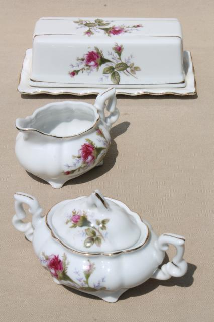 Moss Rose China Covered Butter Dish Cream Amp Sugar Set